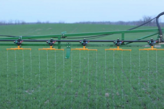 Streamer bars applying uan to wheat. Product always drops straight to the ground with little pressure required to push on an angle.
